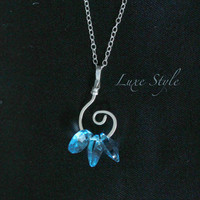 Pendant Necklace Sterling Silver Spiral Loop Swarovski Aqua Blue Beaded Handmade Eco Friendly Luxe Style Jewelry