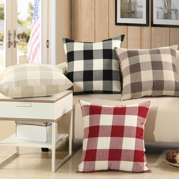 Simple Classic Plaid Pillow Cover for Sofa / Durable Tough Linen Plain Decorative Cushion Covers for Chairs Home Decor Gifts