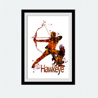 Hawkeye watercolor print  Hawkeye art poster Avengers wall decor Marvel art print Home decoration Kids room wall art Super hero print W647