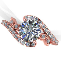 Rose gold diamond engagement ring,diamond wedding ring,floral ring, moissanite center . style 76RGDM