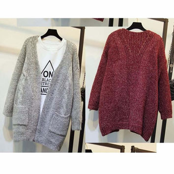 2016 Autumn Winter Solid Women Kintted Solid Full Sleeve Outwear Cardigans Casual Style Warm Pockets Open Stitch Sweaters