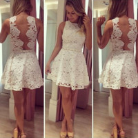 White back LvKong lace dress
