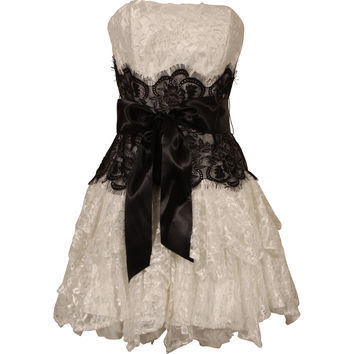 Strapless Bustier Contrast Lace and Crinoline Ruffle Prom Mini Dress Junior Plus Size- PacificPlex-Clothing-Juniors Plus-Dresses