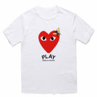 PLAY 2019 new street fashion men and women with round neck cotton love short-sleeved T-shirt white