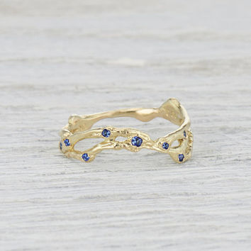 Sapphire Wedding Ring Curved- Contour Double Twig Ring Vine Ring with Sapphires in Yellow Gold, White Gold, Rose Gold or Platinum