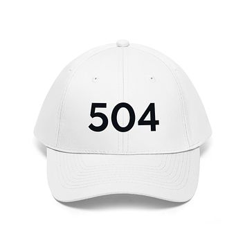 Louisiana 504 Area Code Embroidered Twill Hat BLACK