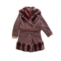 ILGWU 60s Tweed and Faux Fur Winter Pea Coat