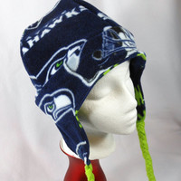 Seahawks licensed Fleece reversible Hat with ear flaps, with or without braided ties older child or Adult, one size fits most