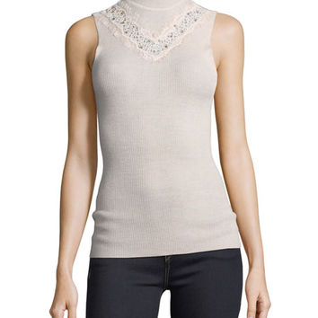 Elie Tahari Cheresia Sleeveless Lace-Trim Sweater