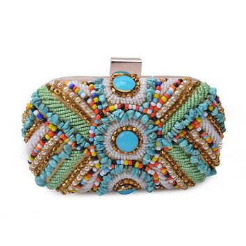 It's Yiiya Peacock Embroidery Clutch Hand Beaded Party Purse One Ring Handbag Hardcase Evening Bag HB016