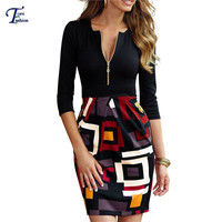 Fashion Style 2016 Ladies Clothing Multicolor Half Sleeve V neck Careers Abstract Print Sheath Work Dress