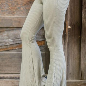 Olive Green Thermal Flare Bell Bottoms