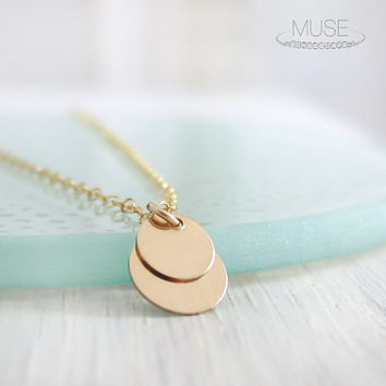 Deux - Two Disc Necklace - Double Disc Gold Drop Necklace, Small Simple Necklace, Dainty Gold Necklace, Delicate Necklace, Layering Necklace