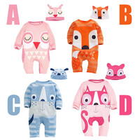 With Hat newborn baby boy girl clothes cute animal rompers one pieces baby unisex romper Infant boys girls Long Sleeve Jumpsuits
