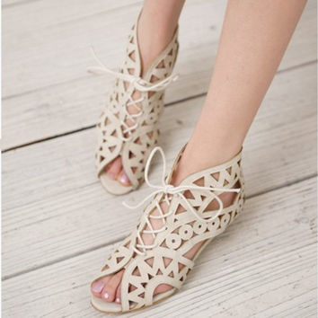 Cut-Out Lace-Up Open Toe Shoes