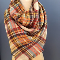 Plaid Blanket Scarf Red/Yellow/Blue