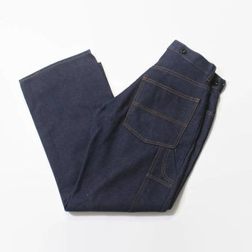 Vintage 80s Big Mac Jeans / 1980s New Old Stock Dark Indigo Carpenter Work Pants