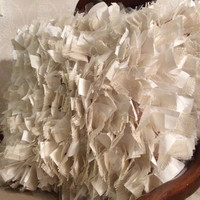 """Shabby Rag Pillow, Burlap White Cotton and Tule, 16"""" Large Square Accent Pillows, Chic Textured Throw Pillows"""