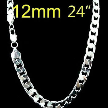 (Width 7 MM)925 Silver Silver necklace for men 22 inch   ,925 sterling silver chain necklace FASHION men JEWELRY = 5617001665