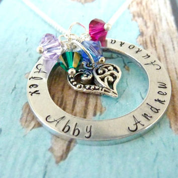 Mother's Day Personalized Mommy Necklace Grandma four children Family Childrens necklace Mommy Grandmother Hand stamped jewelry