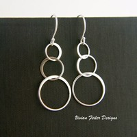 Circle Earrings Three linked Rings Interlocking sterling Silver - Vivian Feiler Designs | Wedding