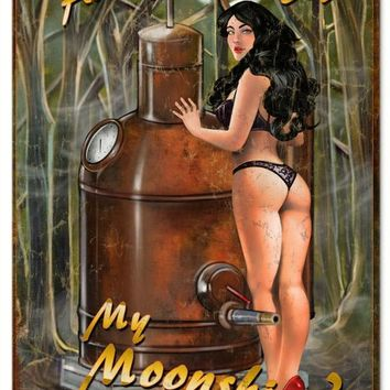 Our You Hot For My Moonshine Pin Up Girl Garage Art Sign