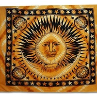 Hanging Brown Bohemian Tapestry Hippie Sun And Moon Dorm Room Full Size 92X82