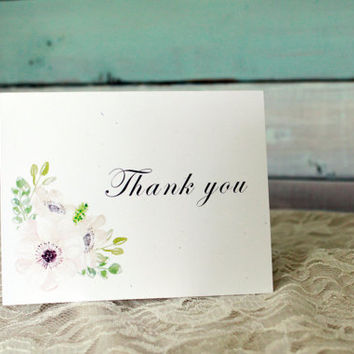 Thank You card set, rustic thank you, wedding thank yous, wedding thank you card, thank you note, blank card, wedding statinary set of 5