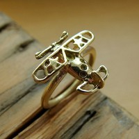 Airplane ring brass Solid brass ringAviator ring by Olympias