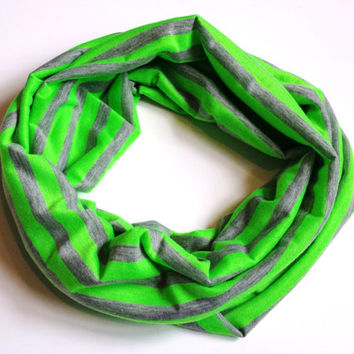 Neon Green and Grey Striped Toddler Scarf Childrens Fashion Accessories Kids Infinity Scarves Girls Scarves Summer Toddler Scarf Baby Scarf