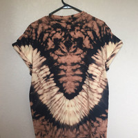 Adult Large Tie Dye Bleach Shirt Black and Orange Reverse Tie Dye Stripes and Crumble Dye