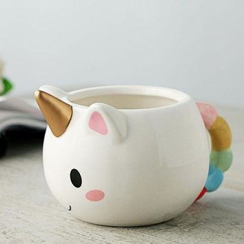 DCCKKFQ Lekoch Cartoon Unicorn Mug 3D Ceramic Coffee Cup Children Girl Creative Cute Gift Wild Finding Magical Horse Cups Christmas