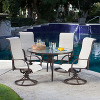 Outdoor Patio Furniture Dining Set with Padded Sling Rocker - Seats 4