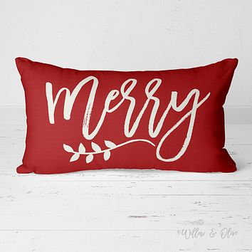 Decorative Lumbar Throw Pillow - Merry (red)