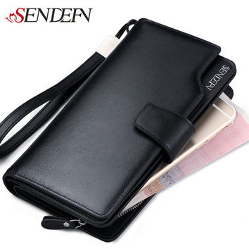 Fashion Wallet Men's Genuine Leather Long Wallet Retro Purse Wrist Strap Clutch Bags