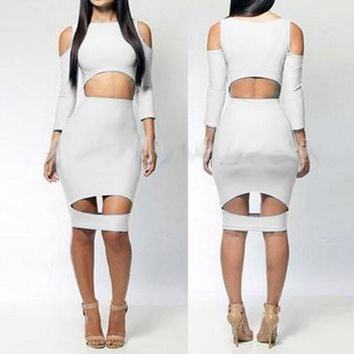 White Plain Cut Out Off-shoulder 3/4 Sleeve Bodycon Midi Dress