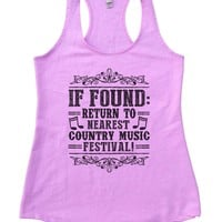 If Found Return To Nearest Country Music Festival Womens Workout Tank Top