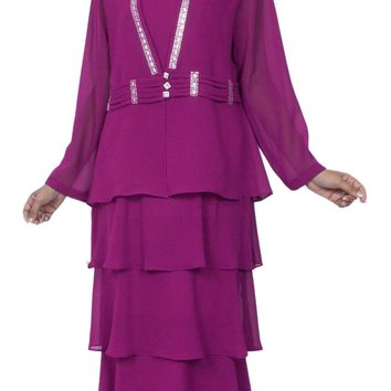 Hosanna 3969 Magenta Tea Length 3 Piece Plus Size Dress Set Tiered Skirt