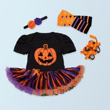d58181b53 Fashion baby girl pumpkin rompers jumpsuits lace tutu dresses to