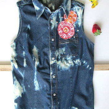Bleached and embroidered women sleeveless denim shirt, Embroidery, Bleached shirt, Denim shirt, Summer shirt, Grunge, Southwestern, African
