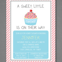 Little Cupcake Baby Shower Invitation, Sprinkle Invite, Girl Baby Shower, Boy Baby Shower, Neutral Baby Shower, Printable Invitation 5x7""