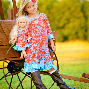 Lilli Lovebird Orange Floral Roberta Dress & Doll Dress - Girls | zulily