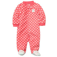 Carter's Girls Owl Polka Dot Microfleece Sleep N' Play with Foot Art