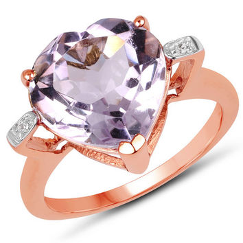18K Rose Gold Plated 5.26 Carat Genuine Pink Amethyst & White Topaz .925 Sterling Silver Ring