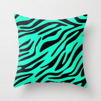 Neon Mint Zebra Throw Pillow by M Studio