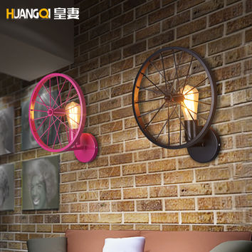 Huang'S Wife Vintage Wall Loft Personalized Restaurant Bar American Country Iron Lantern W/ Light Industrial Wheels