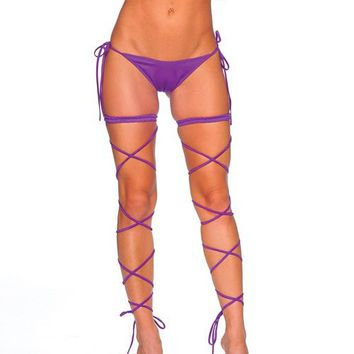 Garter with Spaghetti Leg Wrap - Purple