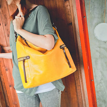Melanie Yellow Leather Shoulder Bag / Crossbody Bag / Work Bag / Tote / Hobo / Yellow Purse / Yellow Handbag.