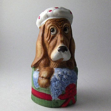 Vintage Bell Bisque Porcelain Christmas Bell: Dog in the Tub Collectible Bell