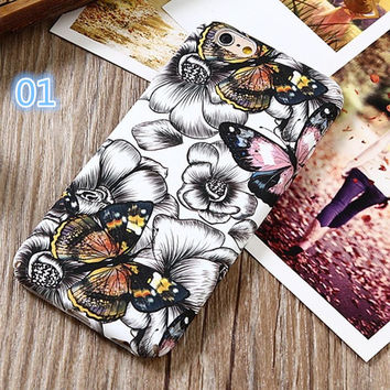 2017 3D Relief Flower Phone Cases For iphone 7 Case Retro Luminous Peony Floral Hard Cover For iphone 7 6 6s Plus Coque Fundas -03129